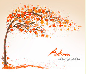 Autumn background with a tree and a colorful leaves. Vector.