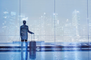 airport double exposure, business travel background, passenger with suitcase luggage
