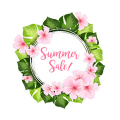 Summer Sale circle banner or frame of green leaves and pink hawaiian flowers. Realistic vector creative illustration for summer advertising design