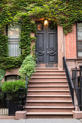Ivy covered exterior door on New York City brownstone apartment Building
