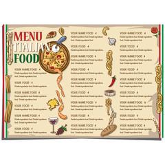 menu Italian food restaurant template design hand drawing graphic.