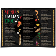 menu Italian food restaurant template design hand drawing graphic.