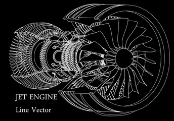 Jet engine isometrics. Vector line illustration.