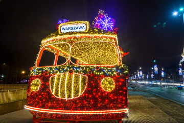 WARSAW, POLAND - JANUARY 25: Bus with gifts - Christmas illumination on 25th January 2017 in...