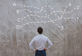 solution or conclusion concept, pensive businessman thinking about decision