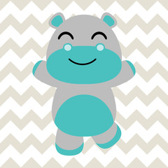 Baby nursery wall with vector cartoon of cute baby hippo on chevron background suitable for baby wallpaper and nursery wall