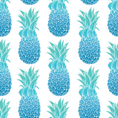 Seamless Pattern of Pineapple With Cute Color or Retro Color on White Background