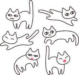 シンプルな白猫のイラストセット