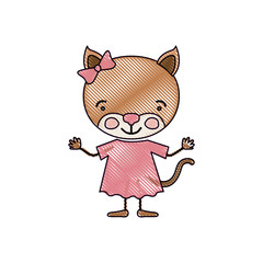color crayon silhouette caricature of cute expression female cat in dress with bow lace vector illustration