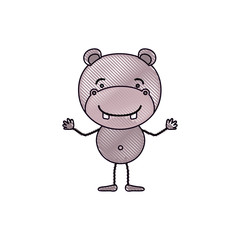 color crayon silhouette caricature of cute hippopotamus happiness expression vector illustration