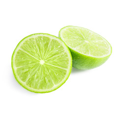 Half of lime citrus fruit isolated on white background.