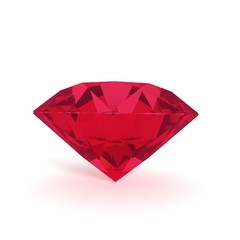 ruby on isolated white in 3D rendering