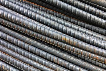 Thick rusty rebar rods metallic