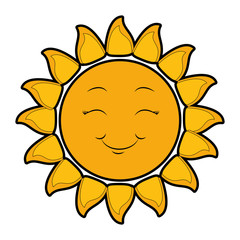 isolated yellow sun face icon vector illustration graphic design