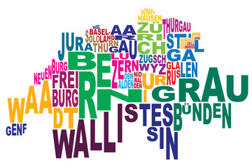 Cantons of Switzerland word cloud straight