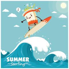 Vintage surfing poster design with vector cup noodle surfer.