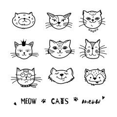 Cat doodle, Hand drawn cats icons collection. Cartoon comic cute kittens Vector illustration