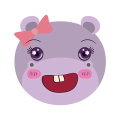 colorful caricature face female hippo animal happiness expression with bow lace vector illustration