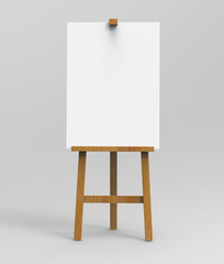 Outdoor advertising picture display blank art board  easel wooden stand or standee template mock up. 3d render illustration.