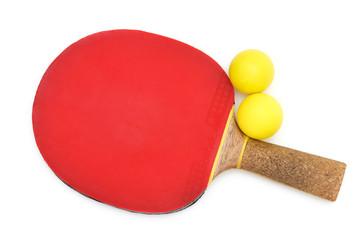 Tischtennisschläger mit Bällen