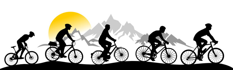 Silhouette Fahrrad Berge