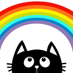 Black cat looking up to big rainbow. Cute cartoon character. Valentines Day. Kawaii animal. Love Greeting card. LGBT flag color sign symbol. Flat design. White background. Isolated.