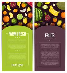 Farm fresh fruit flyers vector illustration. Natural product, juicy fruit, vegetarian delicious nutrition, organic healthy food. Pear, melon, avocado, banana, peach, lemon, watermelon, watermelon