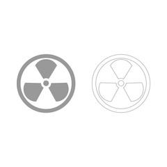 Sign radioactive the grey set icon .