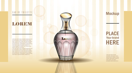 Brand 3D cosmetic vector illustration perfume premium product for woman vintage