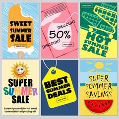 Summer sale offer banner set template vector illustration