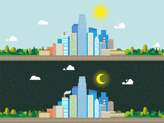 City landscape day night background flat vector illustration