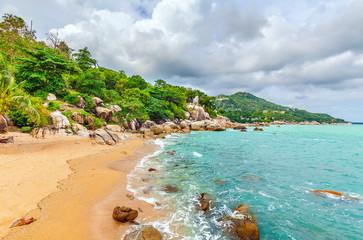 Beautiful beach on the island of Koh Samui in Thailand.