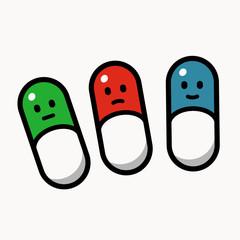 Three smiley pills