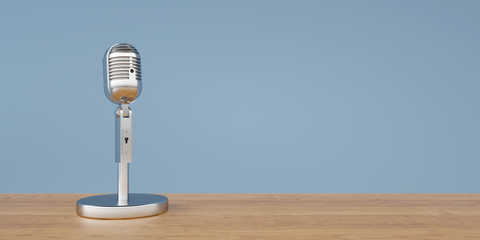 Vintage microphone on wooden table panorama 3d rendering