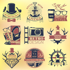 Vintage Hipster Colored Emblems Set