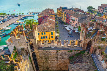 The Italian town of Sirmione. View from the tower of the castle of Scaliger.