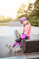Young girl on the roller skate