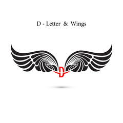 D-letter sign and angel wings.Monogram wing logo mockup.Classic emblem.Elegant dynamic alphabet letters with wings.Creative design element.Corporate branding identity.Flat web design wings icon.