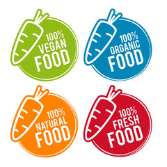 Wall Mural - Set of Eco food Badges. Vegan, Organic, Natural and Fresh Food. Vector hand drawn Signs. Can be used for packaging Design.