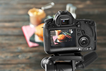Professional camera on tripod during food photographing