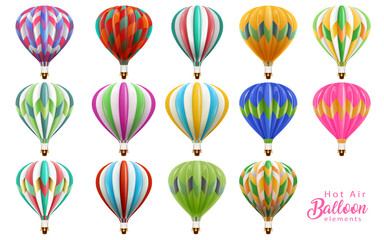 Hot air balloons collection set