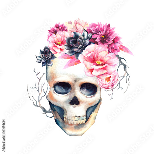 Watercolor floral skull hand drawn design element with succulents watercolor floral skull hand drawn design element with succulents peonies and branches isolated on mightylinksfo
