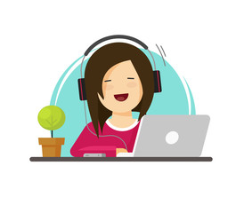 Happy woman working on computer vector illustration, flat carton girl works on laptop on workplace front view, idea of person sitting on working table place, employee or freelancer