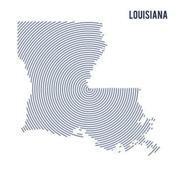 Vector abstract hatched map of State of Louisiana with spiral lines isolated on a white background.