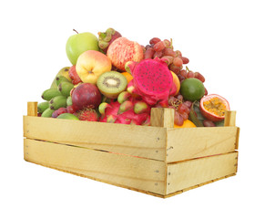 Many fruits in wooden box isolated on white background