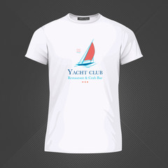 Original print for t-shirt. White t-shirt with fashionable design - Sail boat or yacht. Vector Illustration