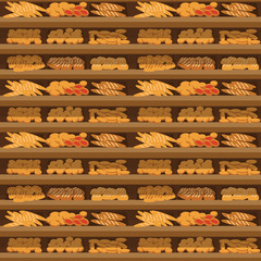 Seamless pattern bakery shelf with bread in supermarket, big choice of fresh products sale in food shop interior, store vector illustration