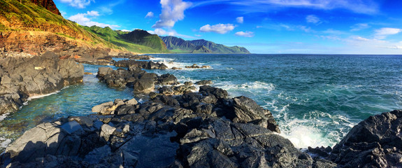 Tide pools at the beautiful Kaena Point and Yokohama coast on the northwest coast of Oahu, Hawaii