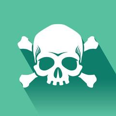 Skull and crossbones vector flat icon, Flat design of danger or poison sign.