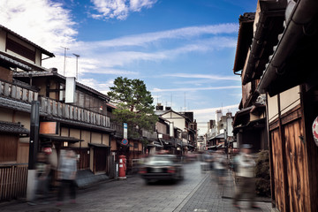 Street in Hanami Koji-dori, Kyoto, Japan